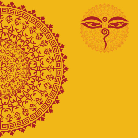 tibetan: Traditional oriental mandala design with Buddha eyes and space for text