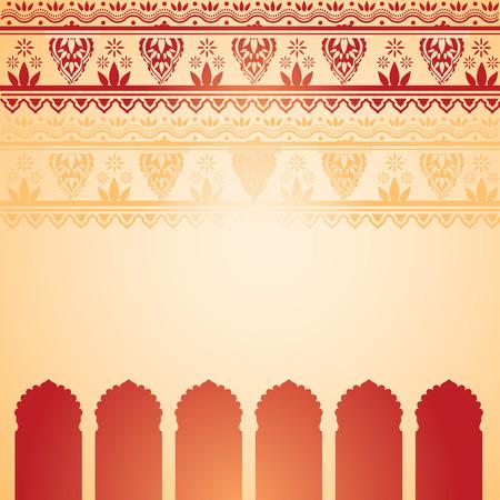 伝統的な赤とクリーム色のインドの寺院の背景にヘナ デザイン枠、テキスト用のスペース