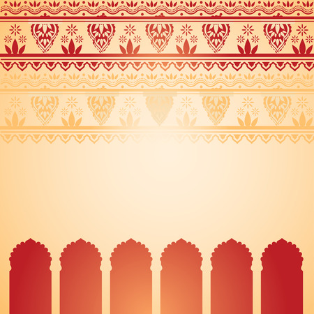 Traditional red and cream Indian temple background with henna design border and space for text