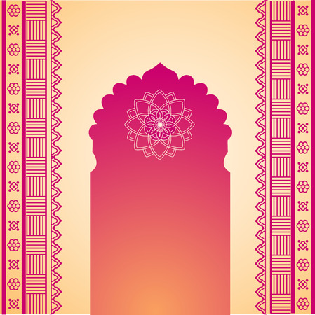 hindu temple: Traditional red and cream Indian temple gate with henna design borders and space for text