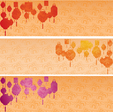 chinese lantern: Set of colorful Asian traditional cloud pattern horizontal banners with hanging lanterns and space for text Illustration
