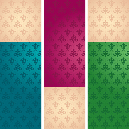 Set of vintage floral wallpaper vertical banners with space for text