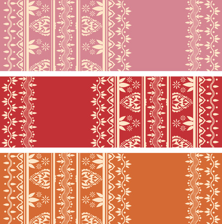 Set of traditional Asian henna tattoo style border design horizontal banners with space for text