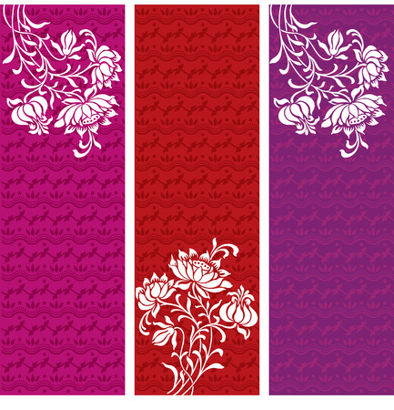 Vintage oriental vertical floral banners with henna design pattern background and space for text