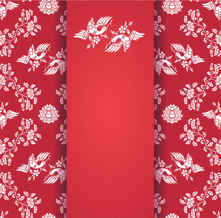 Vintage red floral lotus and birds pattern central banner with space for text Vector