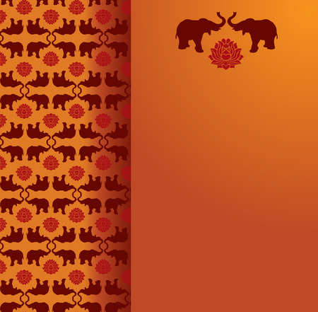 Vintage classical oriental elephant and lotus pattern background with vertical beige banner for text