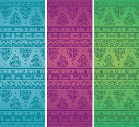 Set of colorful vintage oriental henna style border design horizontal banners Vettoriali