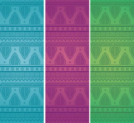 Set of colorful vintage oriental henna style border design horizontal banners Иллюстрация