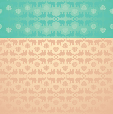Vintage blue and cream classical oriental elephant and lotus pattern background with space for text