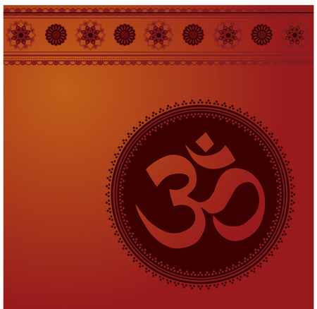 Red and burgundy traditional oriental aum symbol background with henna mandala banner Illustration