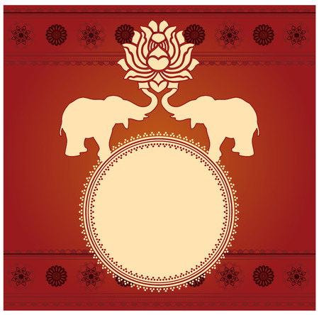 Traditional oriental elephant and lotus round banner with space for text on red background with mandala pattern borders Фото со стока - 39363131