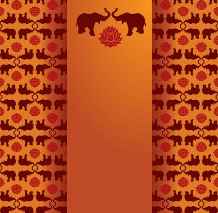 for text: Vintage classica orientale elefante e loto modello di fondo con banner verticale per il testo Vettoriali