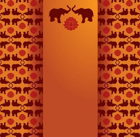 bollywood: Vintage classical oriental elephant and lotus pattern background with vertical banner for text Illustration