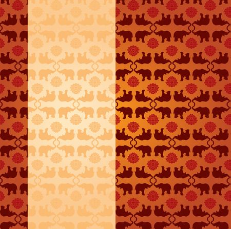 bollywood: Vintage classical oriental elephant and lotus pattern background with vertical beige banner for text