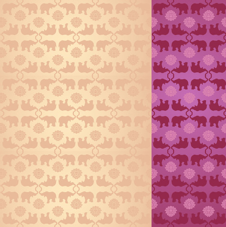 Vintage purple and cream classical oriental elephant and lotus pattern background with space for text Vector
