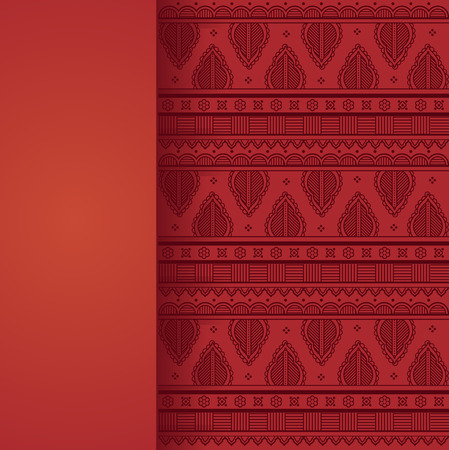 Vintage card design with red oriental henna style background pattern and vertical banner for text Фото со стока - 37102581