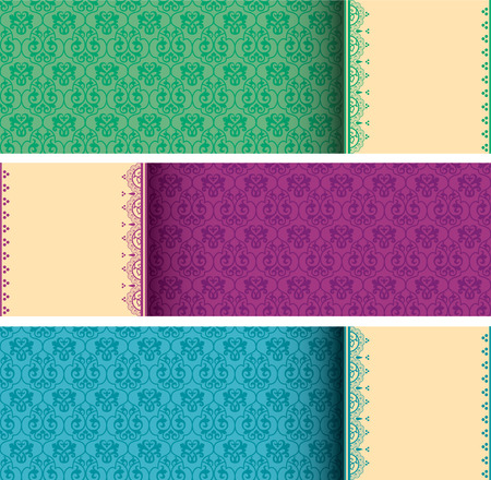 Set of colorful vintage classical pattern horizontal banners with henna elements and space for text Illustration