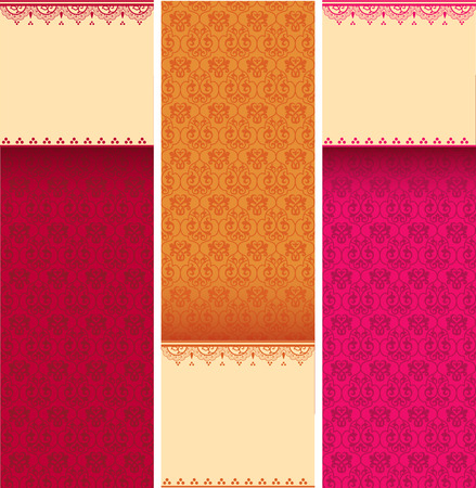 Set of colorful vintage classical pattern vertical banners with henna elements and space for text Фото со стока - 37102584