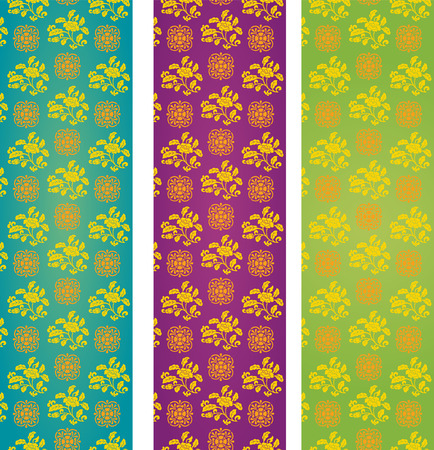 Set of vintage colorful classical oriental floral pattern vertical banners