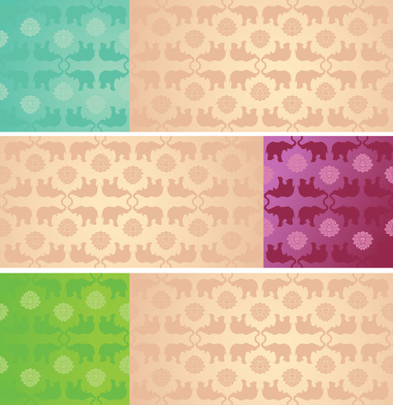 Set of vintage colorful classical oriental elephant and lotus pattern horizontal banners with space for text Vettoriali