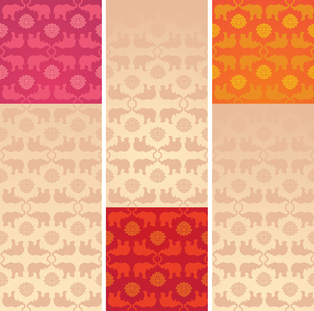 Set of vintage colorful classical oriental elephant and lotus pattern vertical banners with space for text Illustration