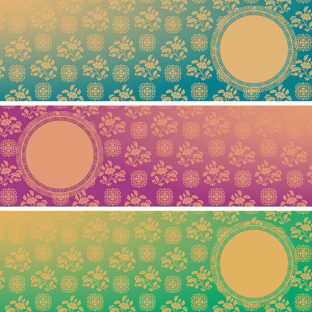 Set of vintage colorful classical oriental floral pattern horizontal banners with round space for text Vector