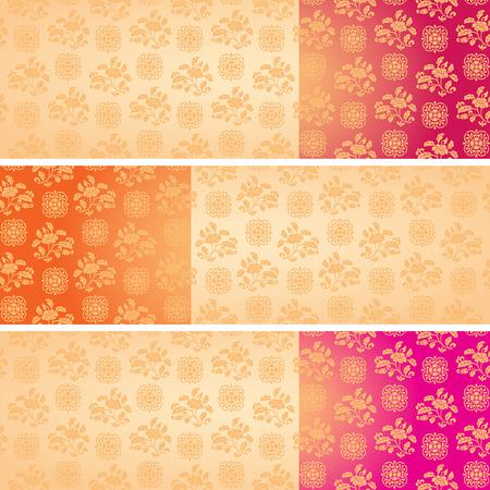 Reeks uitstekende kleurrijke klassieke oosterse bloemmotief horizontale banners met ruimte voor tekst