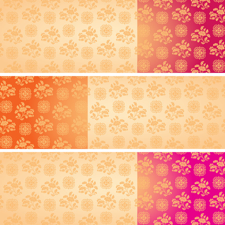 Set of vintage colorful classical oriental floral pattern horizontal banners with space for text Vector