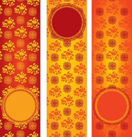 Set of vintage colorful classical oriental floral pattern vertical banners with round space for text Illustration