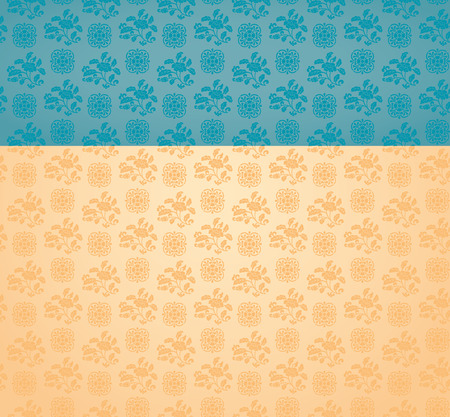 Vintage classical blue and cream oriental floral pattern background with space for text