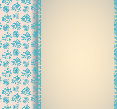 Vintage blue and cream classical oriental floral pattern card design with vertical banner for text Illustration