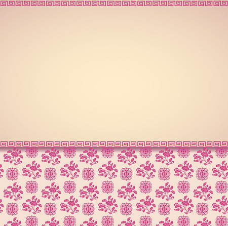 Vintage pink and cream classical oriental floral pattern card design with horizontal banner for text