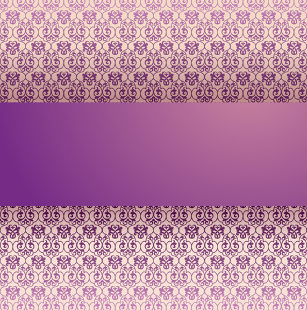 Vintage classical purple and cream damask pattern background with horizontal banner for text