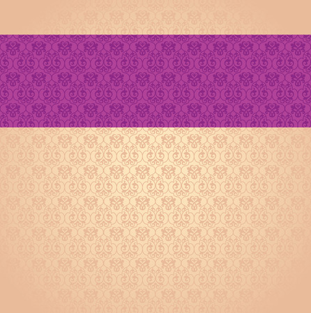 Vintage classical purple and cream damask pattern background with horizontal banner and space for text