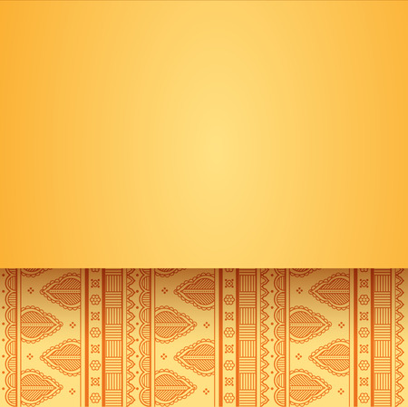 red indian: Vintage card design with yellow oriental henna style background pattern and horizontal banner for text