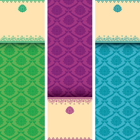 Set of colorful Asian traditional lotus pattern vertical banners with space for text and henna elements Vector