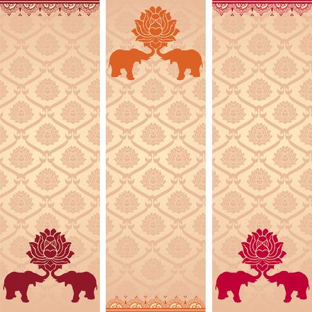 헤나 요소와 화려한 빈티지 아시아 로터스 패턴 수직 배너의 집합 일러스트