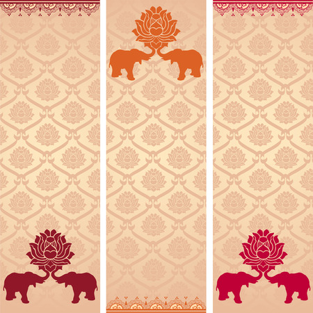 Set of colorful vintage Asian lotus pattern vertical banners with henna elements
