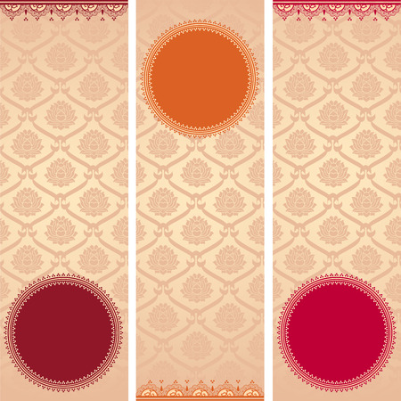 Set of colorful vintage Asian lotus pattern vertical banners with round space for text and henna elements Vector