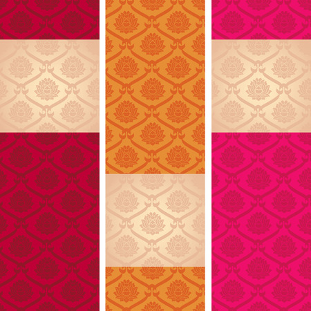 Set of colorful vintage Asian lotus pattern vertical banners with space for text Vector