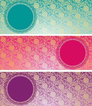 Reeks uitstekende kleurrijke traditionele Chinese patroon horizontale banners als achtergrond met ronde ruimte voor tekst