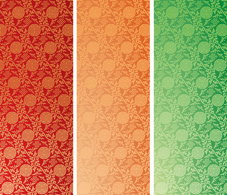 Set of vintage colorful traditional Chinese pattern background vertical banners Illustration