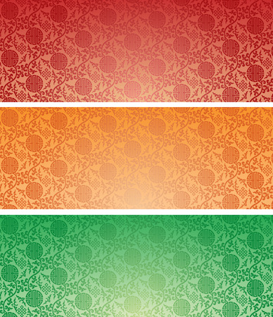 Set of vintage colorful traditional Chinese pattern background horizontal banners Vector