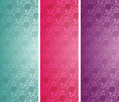 Set of vintage colorful traditional Chinese pattern background vertical banners Vector