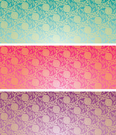 Set of vintage colorful traditional Chinese pattern background horizontal banners
