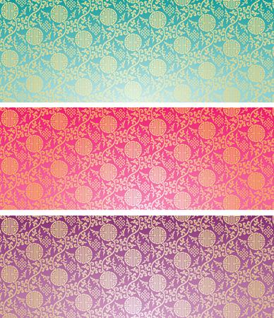 Reeks uitstekende kleurrijke traditionele Chinese patroon achtergrond horizontale banners