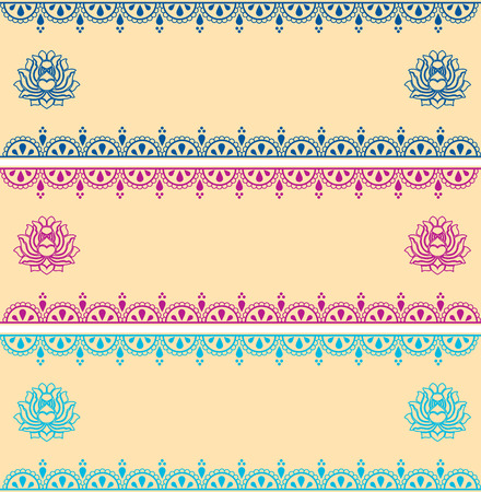 Set of colorful traditional henna horizontal banners with lotus flowers and space for text Vector