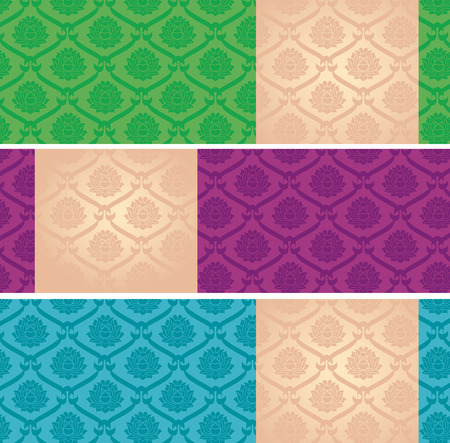 Set of colorful Asian traditional lotus pattern horizontal banners with space for text Vector
