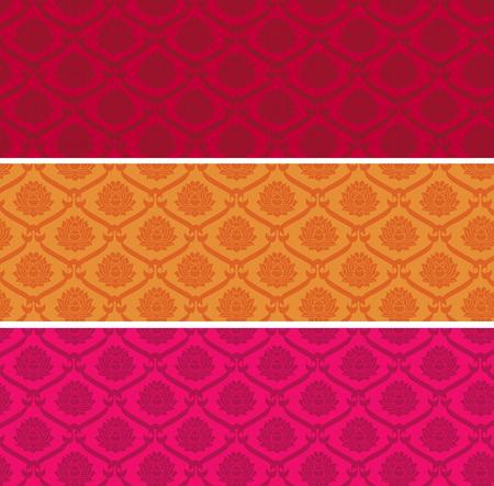 カラフルなビンテージ アジア ロータス パターンの水平方向のバナーの設定