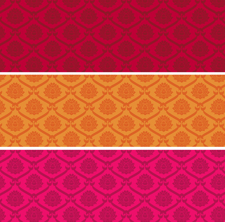 Set of colorful vintage Asian lotus pattern horizontal banners Illustration